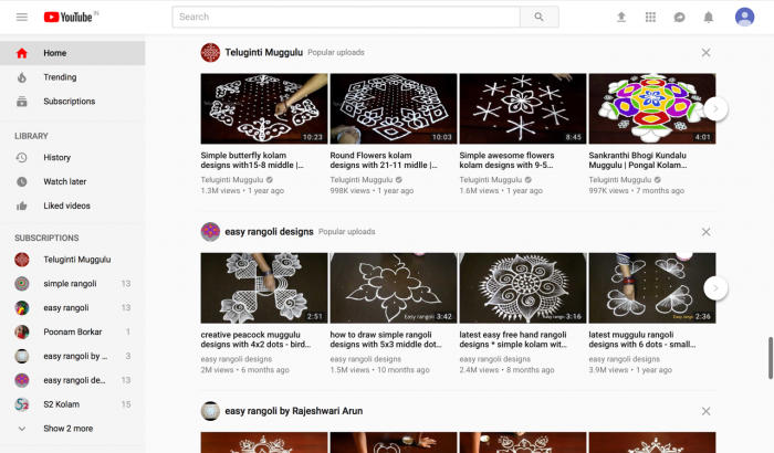 Rangoli on Youtube